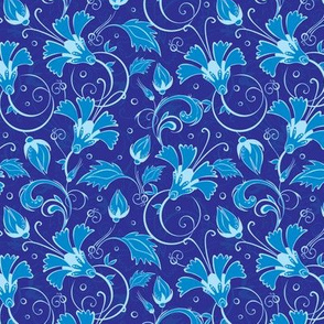 Dark blue turkish floral seamless pattern