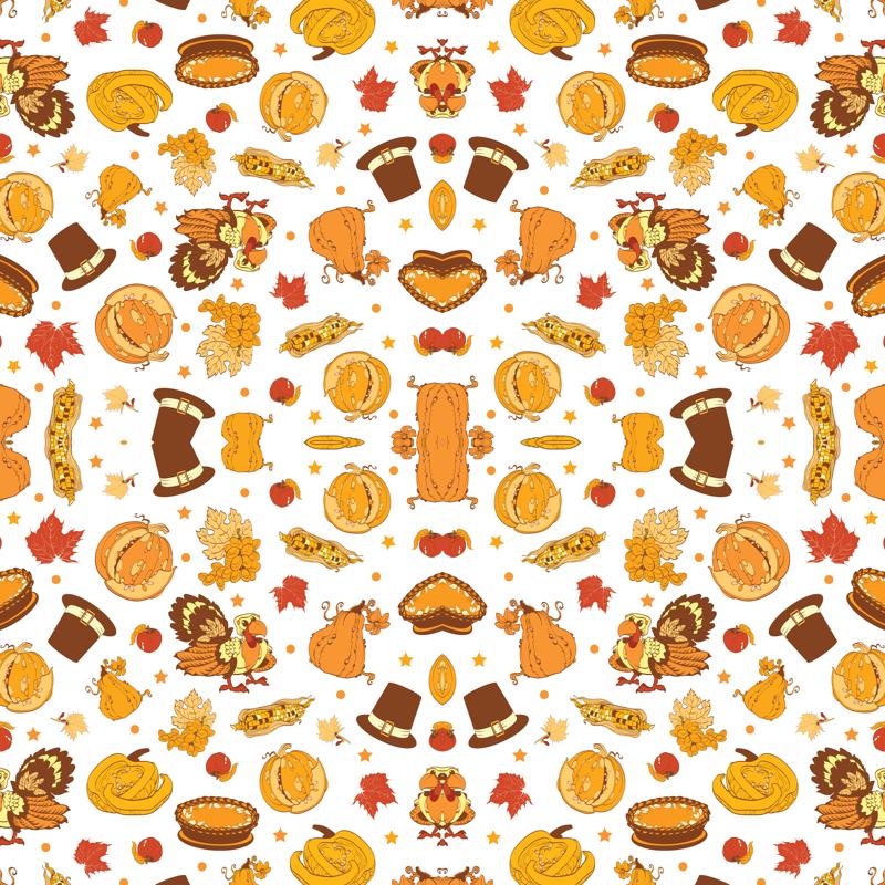 Vector Cornucopia Thanksgiving Pumpkin Turkey Corn Seamless