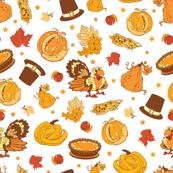 Vector Cornucopia Thanksgiving Pumpkin Turkey Corn Seamless Pattern