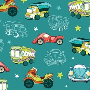 Vector Transportation Cars Trucks Motorcyles Seamless Pattern
