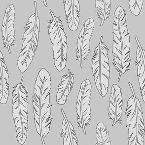 feathers grey on grey