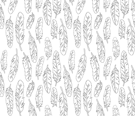 Feathers- outline fabric by sugarpinedesign on Spoonflower - custom fabric