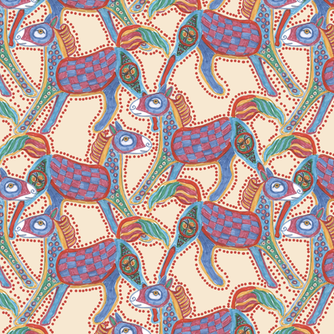 Kells Pony on Parchment, Dotted fabric by eclectic_house on Spoonflower - custom fabric