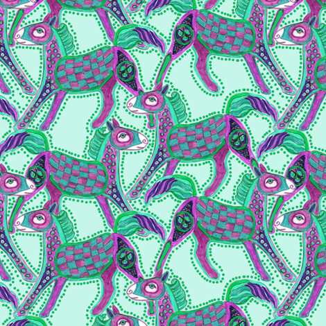 Kells Pony, Turquoise and Purple fabric by eclectic_house on Spoonflower - custom fabric