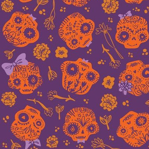Day of the Dead Sugar Skulls - orange on dark purple