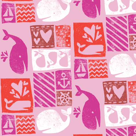 Carved Whales - Playful Pinks fabric by tonia_dee on Spoonflower - custom fabric