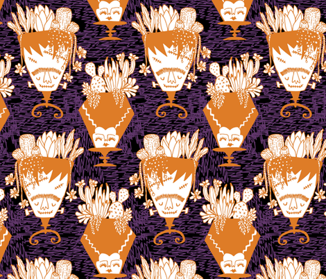 Mr and Mrs Monster - midnight fabric by tonia_dee on Spoonflower - custom fabric