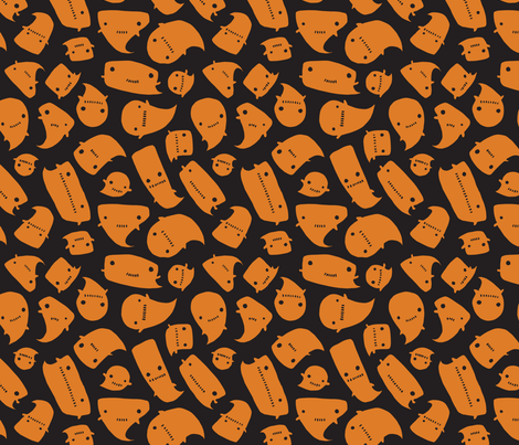 Little Spooks - pumpkin - medium fabric by tonia_dee on Spoonflower - custom fabric