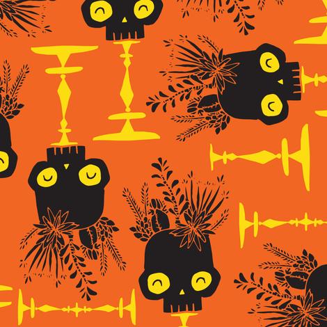 Scattered Skulls - pumpkin fabric by tonia_dee on Spoonflower - custom fabric