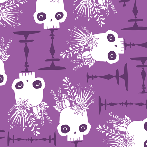 Scattered Skulls - twilight - small fabric by tonia_dee on Spoonflower - custom fabric