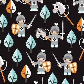 Cute boys knights horse and sword kids woodland fantasy theme
