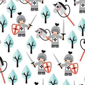 Cute boys knights horse and sword kids woodland fantasy theme in pastel mint