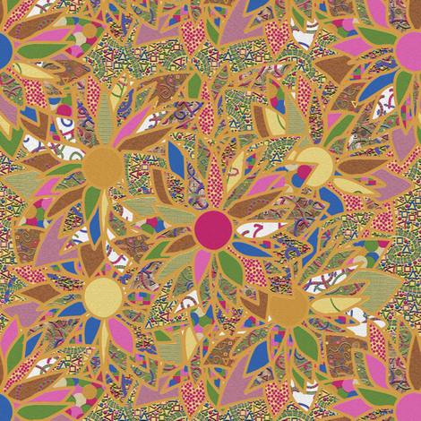 Golden Flowers fabric by anniedeb on Spoonflower - custom fabric