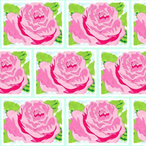 Watercolor Rose Quilt MED- seafoam