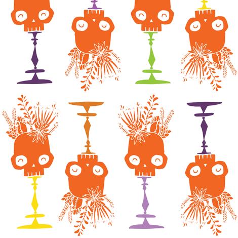 Tidy Skulls - pumpkin fabric by tonia_dee on Spoonflower - custom fabric