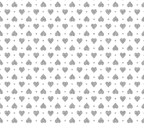 Faux Silver Glitter Hearts & Dots fabric by pearl&phire on Spoonflower - custom fabric