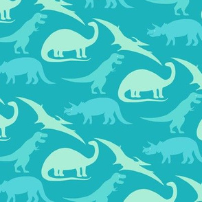 dinosaurs in teal and turquoise