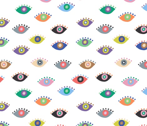 Eyez White fabric by kellytucker on Spoonflower - custom fabric