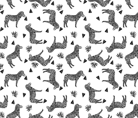 zebra // black and white kids triangle sweet tropical animals fabric by andrea_lauren on Spoonflower - custom fabric