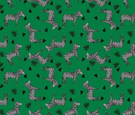 zebra // kelly green safari black and white animal zebra wallpaper fabric by andrea_lauren on Spoonflower - custom fabric