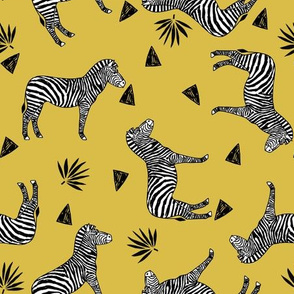 zebra // mustard yellow zoo safari africa animal black and white