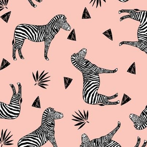 zebra // black and white zebra pastel pink girls sweet zebra print