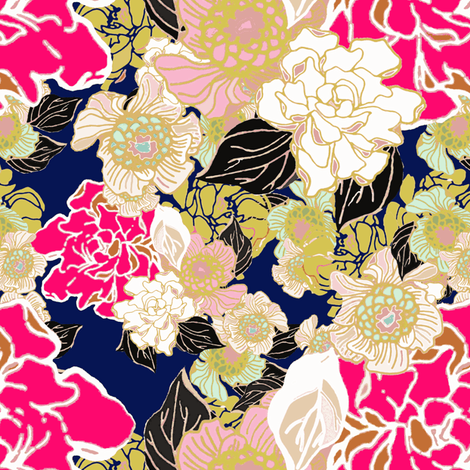 Jungle Passion floral navy fabric by joanmclemore on Spoonflower - custom fabric