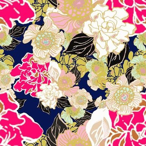 Jungle Passion floral navy