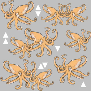 Octopus Meets Triangle on Grey - Larger Scale