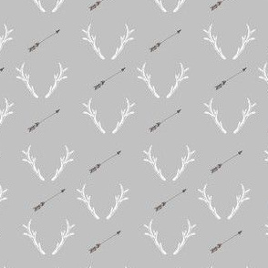 Rustic Horns and Arrow in Grey