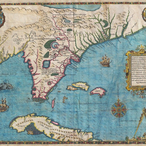 1591 Map of Florida and Cuba