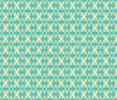 Daphne - Soft Teal & Vanilla fabric by jodiebarker on Spoonflower - custom fabric