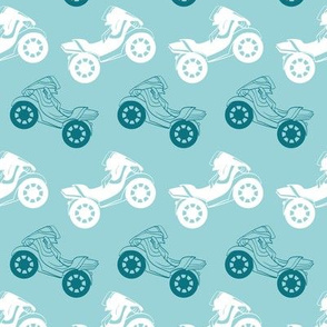 Vector Motorcycles Blue Brown Stripes Seamless Pattern. Riding on One Wheel Motorbike
