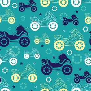 Vector Motorcycles Blue Green Yellow Seamless Pattern. Motorkbike Biker Sport