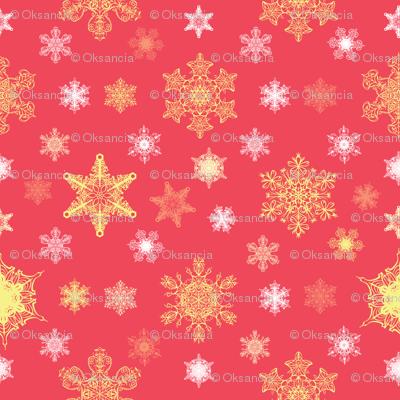Ornate Christmas Snowflakes Seamless Pattern