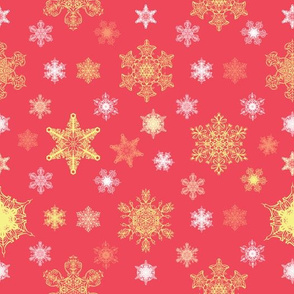 Ornate Christmas Snowflakes Seamless Pattern