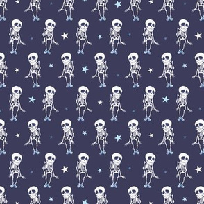 Dancing Skeletons Halloween Seamless Pattern. Costume