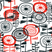 quirky flowers - red/black