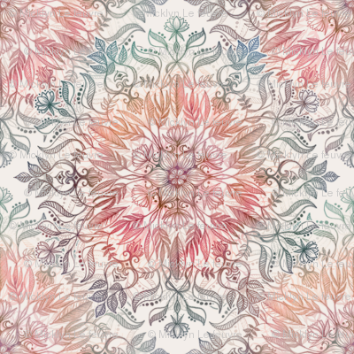 Autumn Spice Mandala in Coral, Cream and Rose