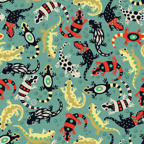 Lizard loving lush fabric by verycherry on Spoonflower - custom fabric