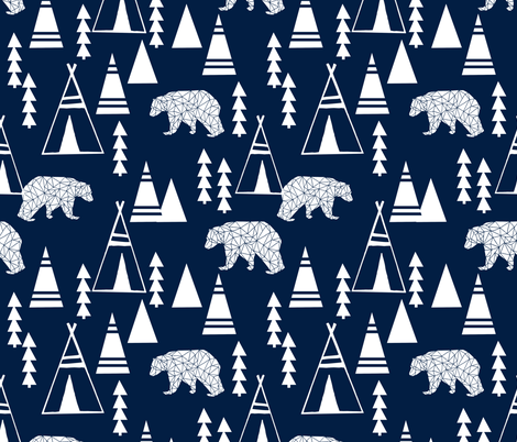 TeePee Forest fabric //- Navy by Andrea Lauren  fabric by andrea_lauren on Spoonflower - custom fabric