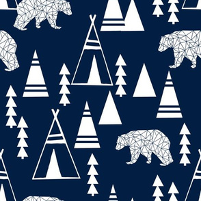 TeePee Forest fabric //- Navy by Andrea Lauren