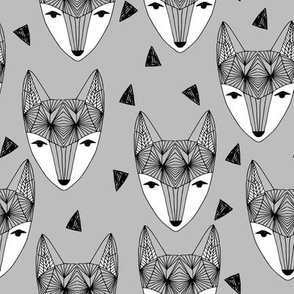 Fox Head - Grey by Andrea Lauren