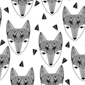 Fox Head - Grey and White by Andrea Lauren