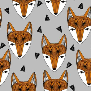 Fox Head fabric -geometric fox head fabric, grey and rust fabric, baby boy fabric, baby boy - by andrea lauren