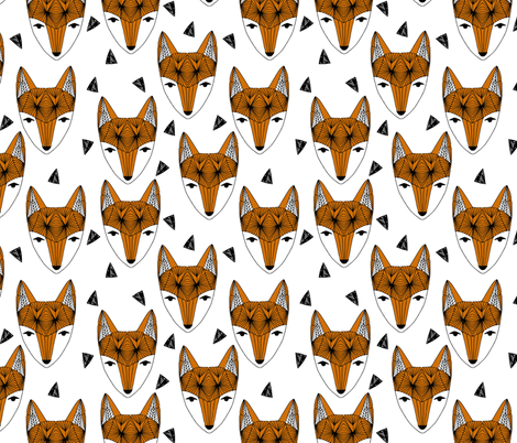 Fox Head - Rust and White by Andrea Lauren  fabric by andrea_lauren on Spoonflower - custom fabric