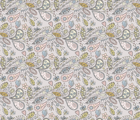 Paisley butterfly garden - grey fabric by rachelmacdonald on Spoonflower - custom fabric
