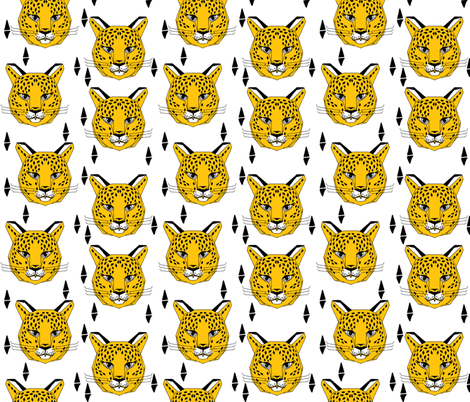 Snow Leopard - White and Yellow by Andrea Lauren  fabric by andrea_lauren on Spoonflower - custom fabric