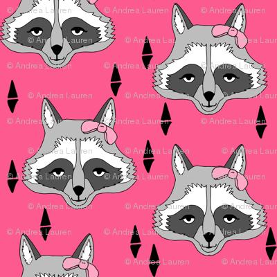 raccoon // sweet girls raccoon pink girls fabric girly raccoon with bow animal print for girls