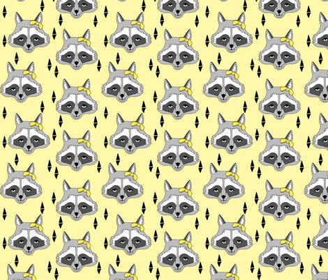 raccoon // sweet pastel yellow girls raccoon with bow spring animal print for baby girl sweet little girls fabric by andrea_lauren on Spoonflower - custom fabric